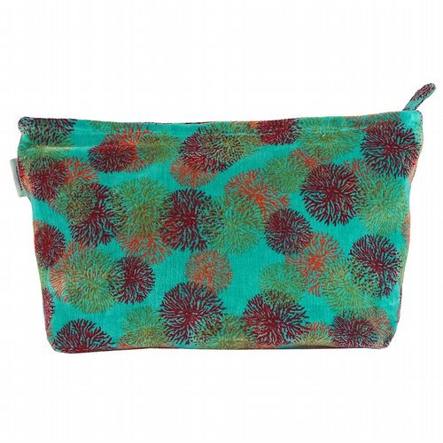 Printed Cotton Velvet Washbag - Reef Turquoise